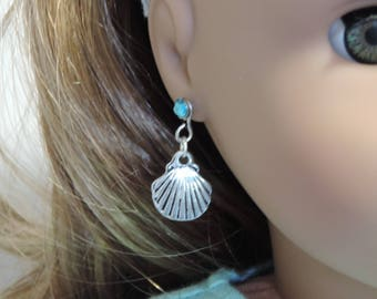 Silver Shell Earrings for American Girl Dolls and other 18 inch dolls, Beach, Summer