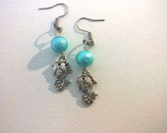 Fish silver Moon and women and girls jewelry aqua blue beads earrings
