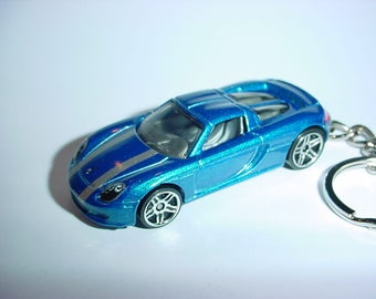 3D Porsche Carrera GT custom keychain by Brian Thornton keyring key chain finished in blue color trim diecast metal body
