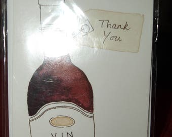 Pack of 5 Bottle of Red Wine Thank You Notecards and Envelopes