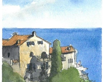 Èze, France-- ORIGINAL WATERCOLOR PAINTING