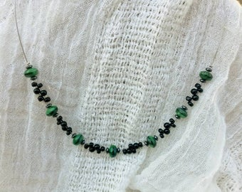Green Tigers Eye and Black Glass Bead woven necklace boho necklace