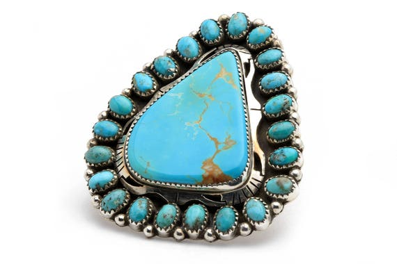 XLg Flower Size 8 Navajo Handmade Turquoise & Sterling Silver Ring Native American jewelry, bohemian beach wedding.