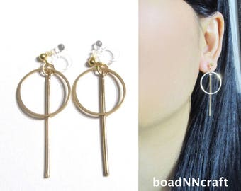 Drop Bar Circle Hoop Clip On Earrings |41H| Dangle Gold Modern Geometric Clip On Earrings,Long Boho Invisible Clip-ons Non Pierced Earrings
