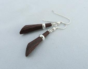 """Earrings """"turned"""", wood, silver, unique rings. gastyne workshop"""