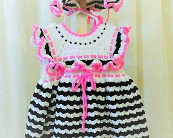 Crochet Baby Girl Dress Crochet Baby Girl Hat Baby dress Baby hat Black White Baby shower gift Wear Home From Hospital Preemie - 12 months