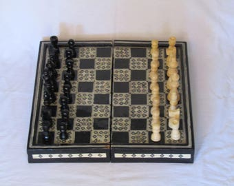 Antique Backgammon And Chess Board Plus Pawns, Antique Chess Set, Middle  Eastern Artisan Mosaic