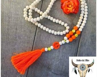 Necklace wood beads natural, orange and neon orange tassel