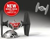 Tie Fighter Ring Box - proposal ring box, engagement ring box, star wars, ring case, wedding, marriage, matrimony, bridal, geekery, geek box