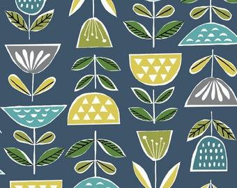 Organic Cotton Barkcloth - Mod Blooms - Organic - Fabric by the Yard - Sustainable  - Boho - Barkcloth - Geometric