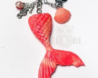 Orange Mermaid Tail Charm / Planner Charm, Purse Charm, Zipper Pull