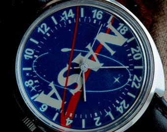 RAKETA Russian watch NASA Space Mechanical Wrist Watch 24 hours 2623H