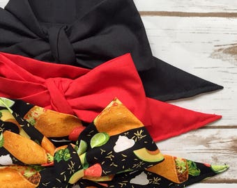 Gorgeous Wrap Trio (3 Gorgeous Wraps)- Noir, Candy Apple & Taco Love Gorgeous Wraps; headwraps; fabric head wraps; bows