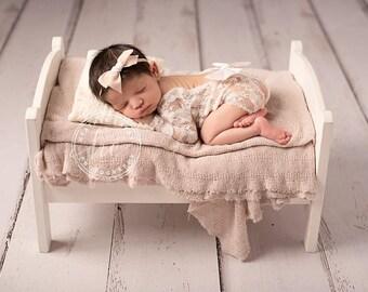 SEASHELL VINTAGE VELVET Hand-tied Bow (Headband or Clip)- velvet bow headband; velvet bow; newborn headband; baby headband; toddler bow