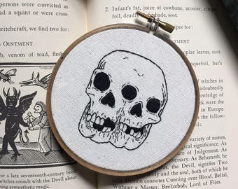 Four Inch Conjoined Skull Embroidery