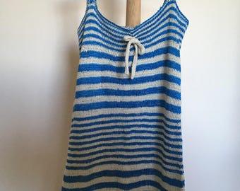 Blue and ivory striped dress