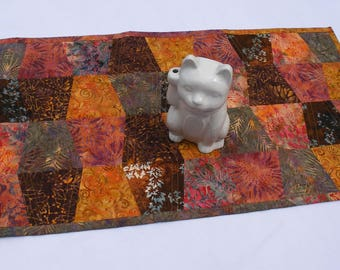 """Gold, Brown, Red Batik Tumbler Quilted Table Runner 16"""" x 35"""" Warm Autumn colors"""