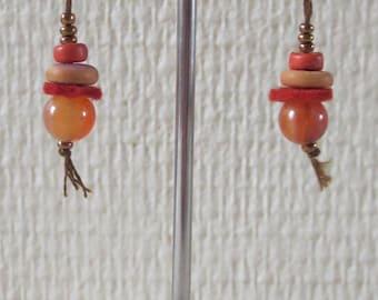Orange 18 felt and glass Pearl Earrings