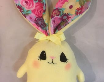 "Soft  and Huggable Yellow Fleece Bunny Rabbit  7"" (not counting ear length)"