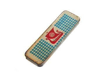 Soviet Vintage Metal Tin Pencil Case Box Russian School Accessory,