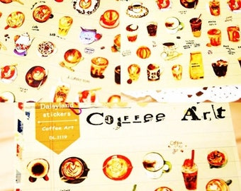 30% OFF ENTIRE STORE Coffee Art Stickers by Daisyland