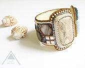 RESERVED Wide bead embroidered cuff bracelet brown chunky bracelet unique statement bangle bead art modernist bracelet massive geometric