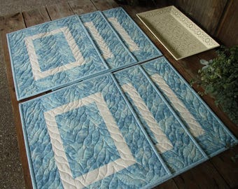Modern Blue White Placemats, Six Quilted  Fabric Placemats, Winter / Summer Dining Table Mats in Ice Blue, Housewarming Gift for Kitchen
