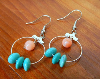 Turquoise & Pink Coral Earrings, Turquoise Earrings, Turquoise Jewelry, Pink Coral Earrings, Pink Coral Jewelry, Beach Jewelry, Boho Jewelry
