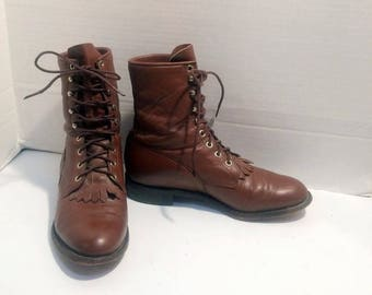 sz 5 B vintage caramel brown leather justin, lace up granny combat boots