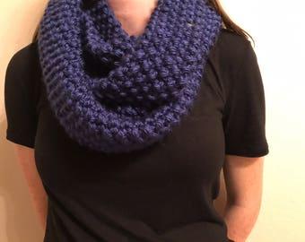 Knit Blue Infinity Scarf