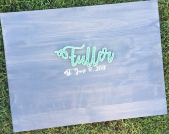 Wedding Guestbook Alternative: Wood sign-in board with string art name and wedding date