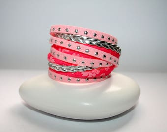 "Bracelet double cuff ""Silver and pink Color"" style"