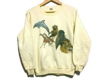 Vintage Animal Sweater Crew Neck Double Sided Color Yellow Size Medium