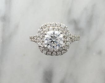 1 CT Round Forever One Moissanite - Double Cushion Halo Split Shank Diamond Engagement Ring - Affordable Engagement Ring
