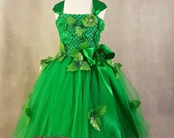 Poison Ivy Dress. Handmade Poison Ivy Tutu. Fancy Dress. Birthday Party. Green Fairy Tutu Dress. Superhero Dress. Halloween Costume.