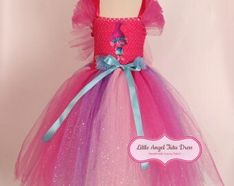 Princess Poppy Costume. Trolls Dress. Poppy Inspired Handmade Dress. Poppy Tutu Dress. Costume. Fully Lined Top. Poppy Hair. Poppy Dress