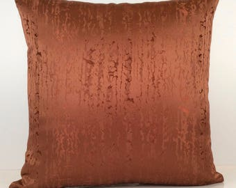 Cinnamon Copper Pillow Cover, Decorative Throw Pillow Cover, Cushion Cover, Accent Pillow, Satin Blend, Geometric pattern, Pillowcase.