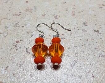 Orange earrings, orange beads, orange jewelry, orange accessories, Sterling silver earrings