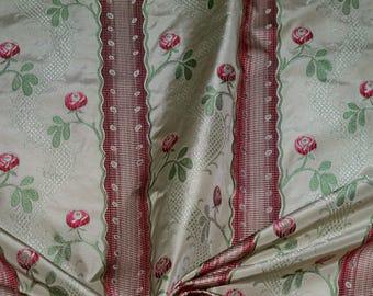 CLARENCE HOUSE MAITLAND French Lisere Silk Damask Fabric 10 Yards Cream Ruby Opal