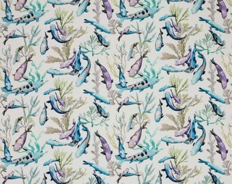 MANUEL CANOVAS TROPICAL Fish Indoor Outdoor Toile Fabric 10 Yards Turquoise Lavender Multi