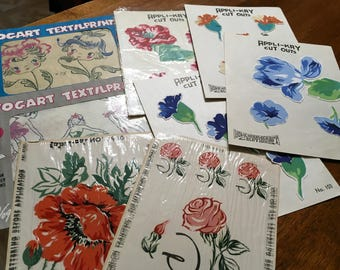 Vintage lot of textile iron on transfers,appliqués, and decals 1940-1950