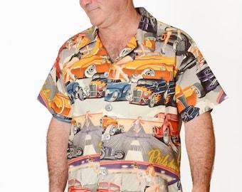 Feak Shirt for Men Retro Cars Print, Hawaiian Shirt, Retro Cars Shirt, Mens Hawaiian Shirt, Retro Cars Print Shirt