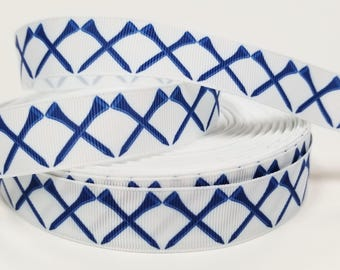 "7/8"" inch Blue Golf Tee Tees on white - Matches Golf Ribbon- Printed Grosgrain Ribbon for Hair Bow - Original Design"