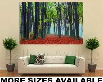 Wall Art Giclee Canvas Picture Print Gallery Wrap Ready to Hang Foggy Trees Mystic Forest 60x40 48x32 36x24 24x16 18x12 3.2