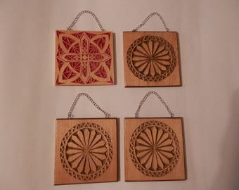 Chip carved wall hangers