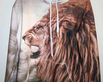 Vtg Polyester LION Hoodie M/L