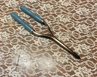 Vintage Curling Iron with Blue Wooden Handle