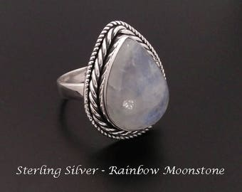 Moonstone Ring - Sterling Silver Ring with Rainbow Moonstone Gemstone Size 8.5   Rings for Women, Silver Ring 233