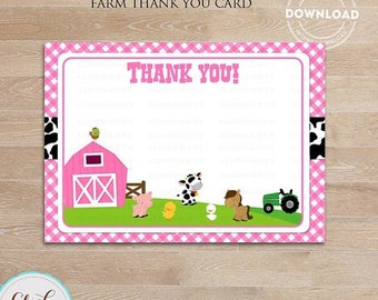 50% OFF SALE Pink Farm Thank you card, Girl Barn Note card, Old Mc Donald thank you note, barnyard animals,Printable Party supplies, Birthda
