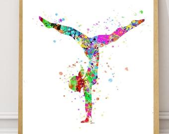 Gymnastics Prints, Gymnast Watercolor, Gymnastics Art, Gymnastic Printable, Gymnastic Printable Art, Gymnastic Sport Print, Gymnast Decor